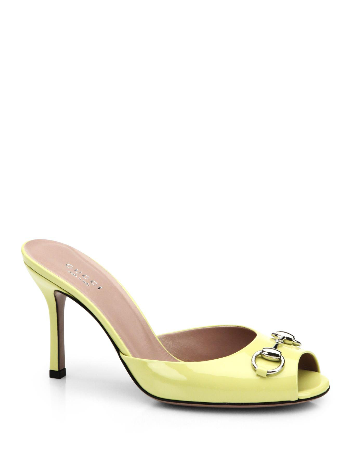 d6c66f68ade2 Lyst - Gucci Jolene Leather Mule Sandals in Yellow