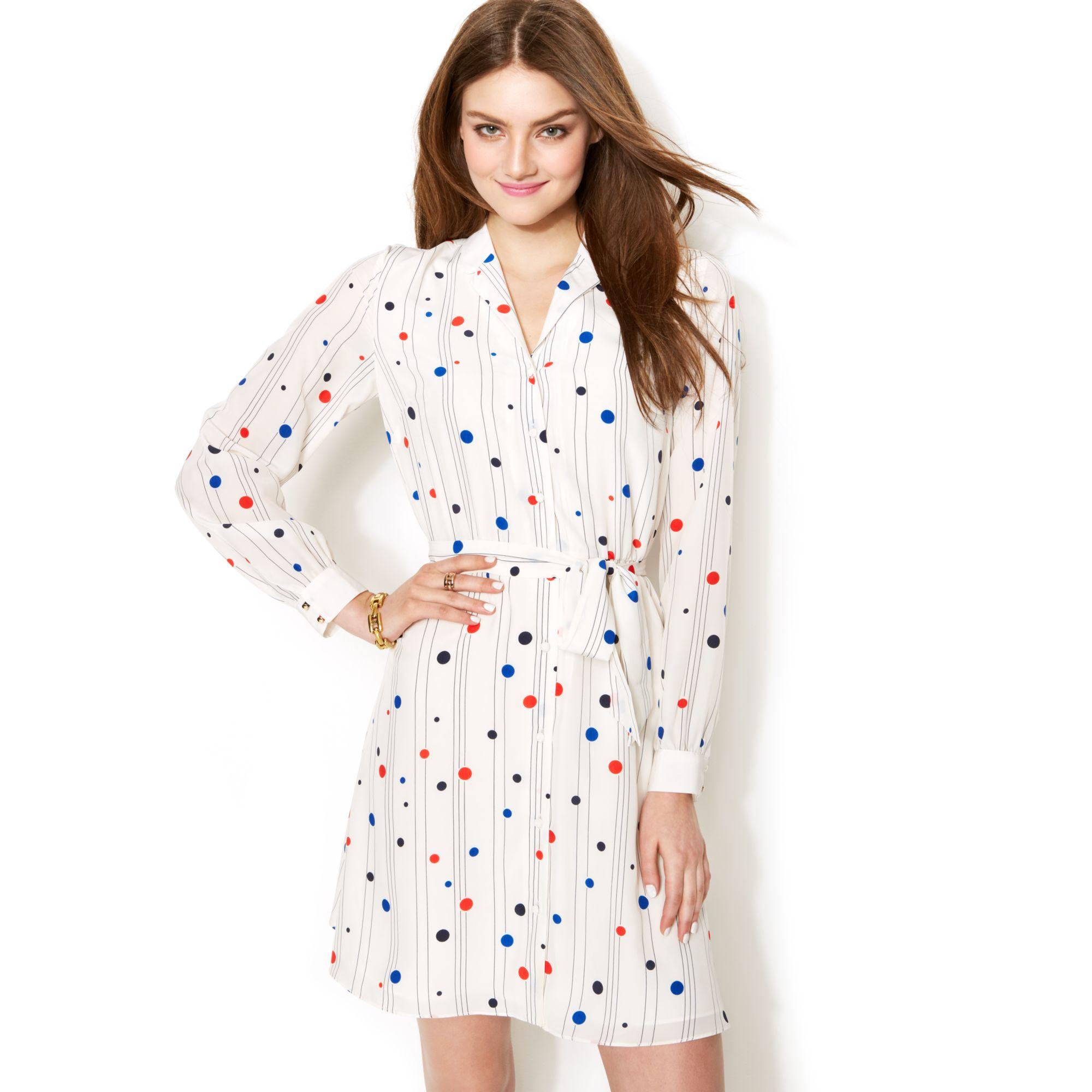 e3e6f96e97c Tommy Hilfiger Zooey Deschanel For Polkadot Printed Shirtdress - Lyst