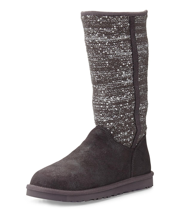 Lyst Ugg Camaya Metallic Knit Boot In Gray