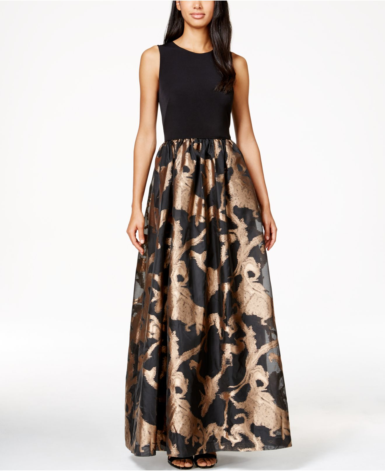 Lyst - Calvin Klein Metallic Taffeta Gown in Black