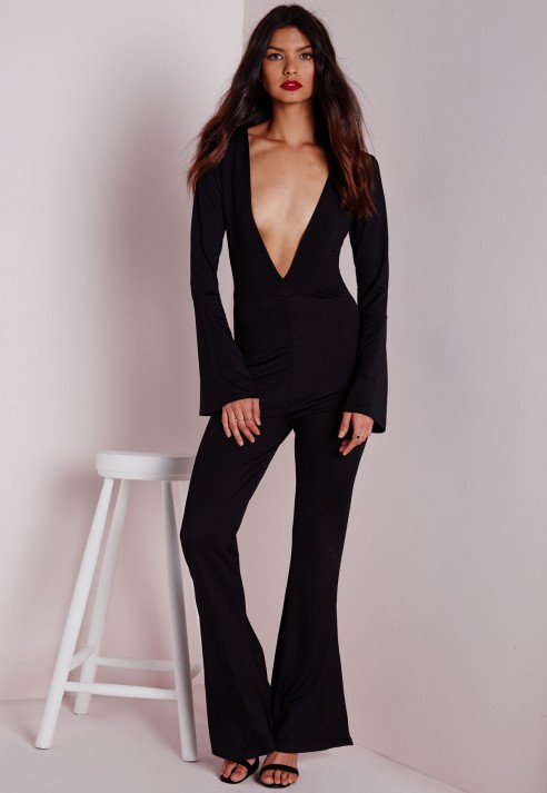 13a98d25c42 Lyst - Missguided Plunge Flared Sleeve Jumpsuit Black in Black