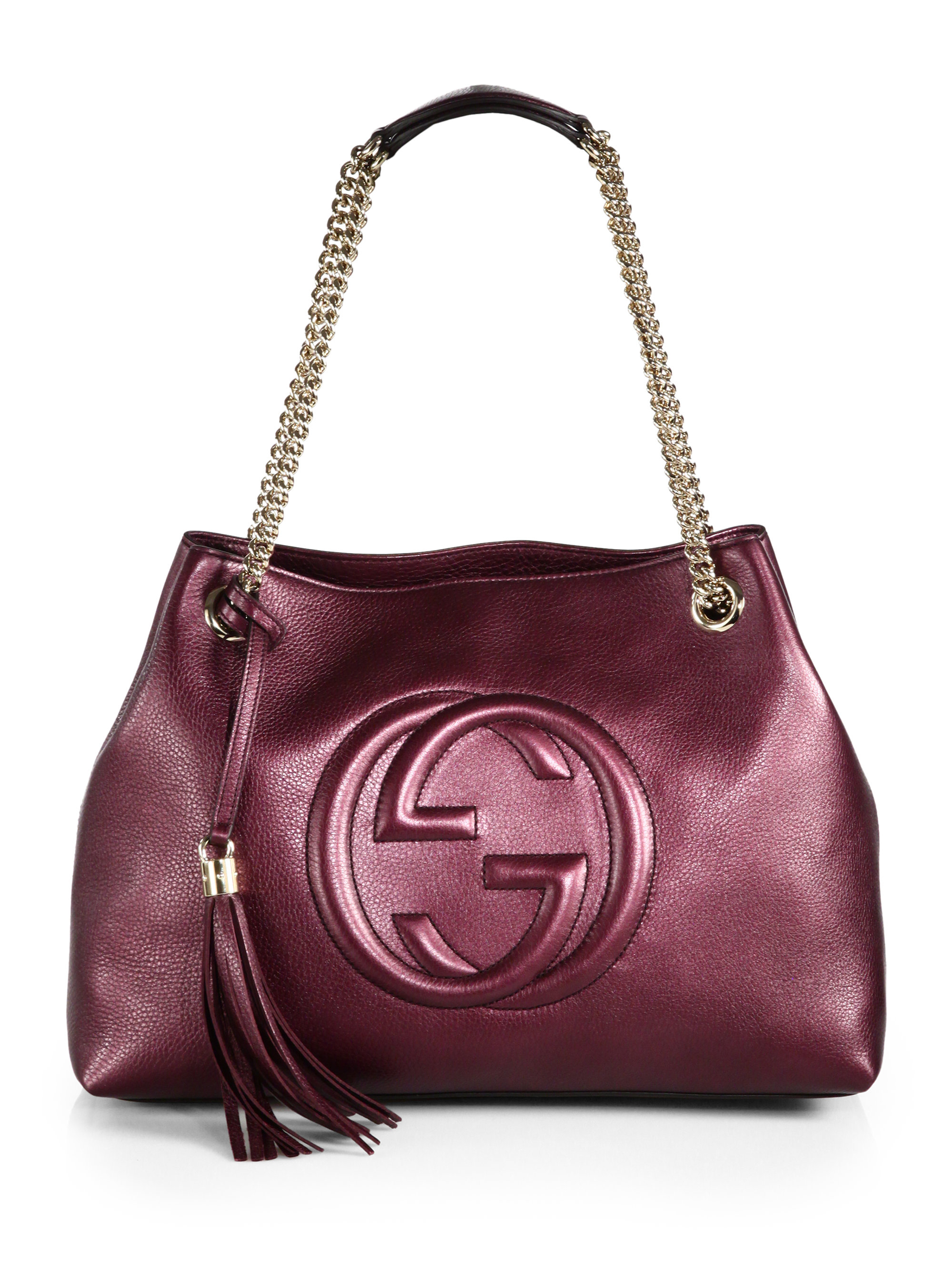 Lyst - Gucci Soho Metallic Leather Shoulder Bag in Red 2991bff0488e8