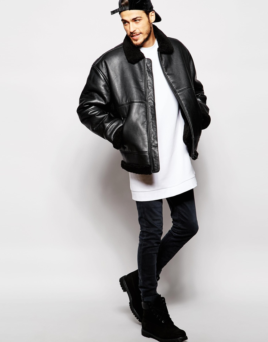 Lyst Weekday Shearling Leather Jacket Oversized In Black For Men