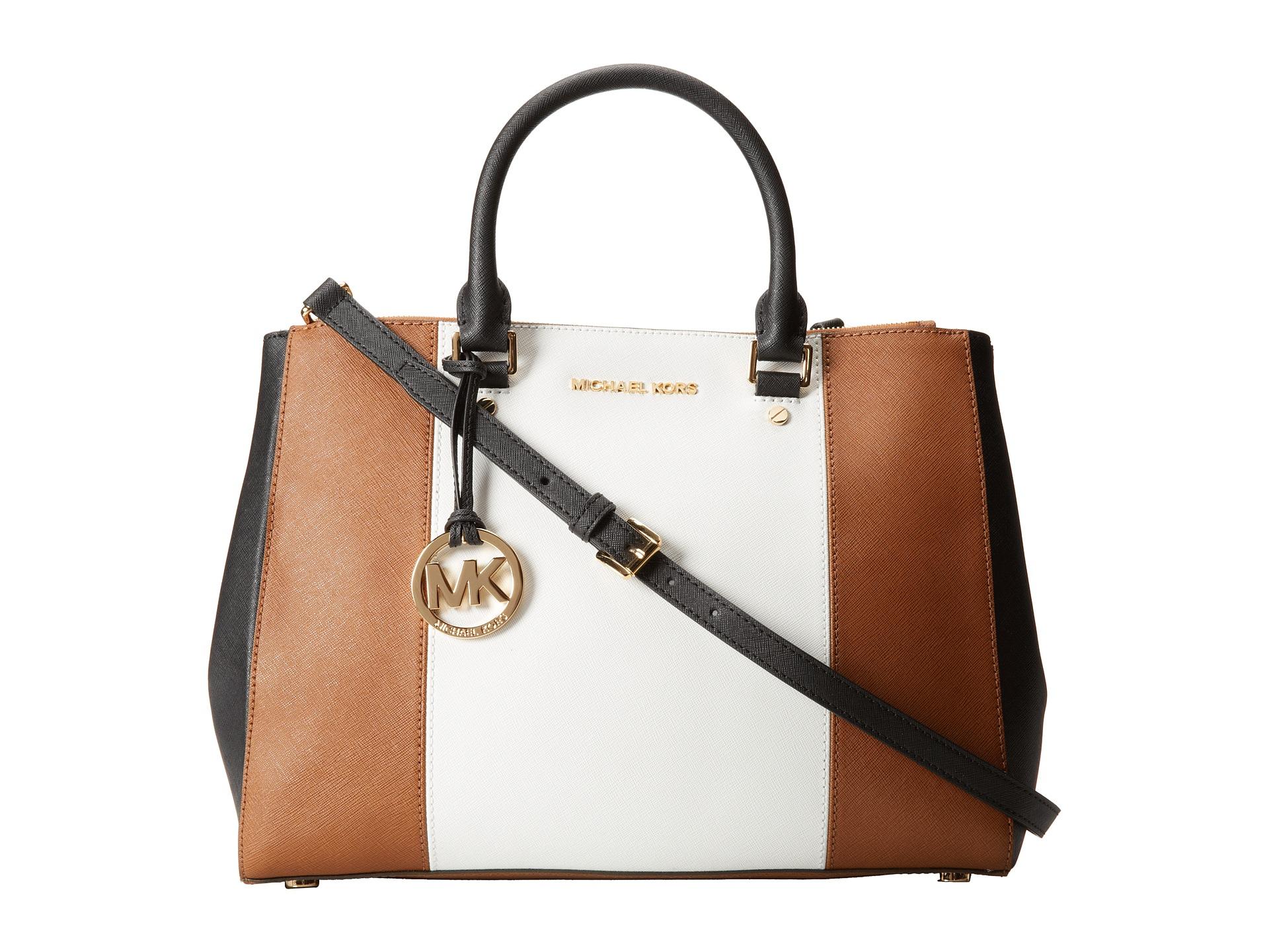 9c10741574d7 ... leather bag handbag black bd36b 9e3f4; official lyst michael michael  kors sutton center stripe large satchel in brown 7d815 32a72