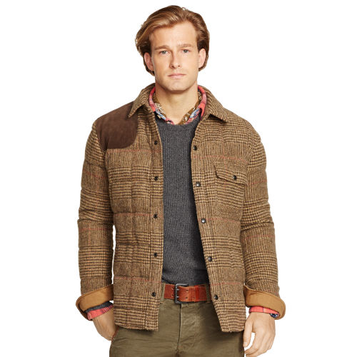 Polo ralph lauren glen plaid down shirt jacket in brown for Polo shirt with jacket