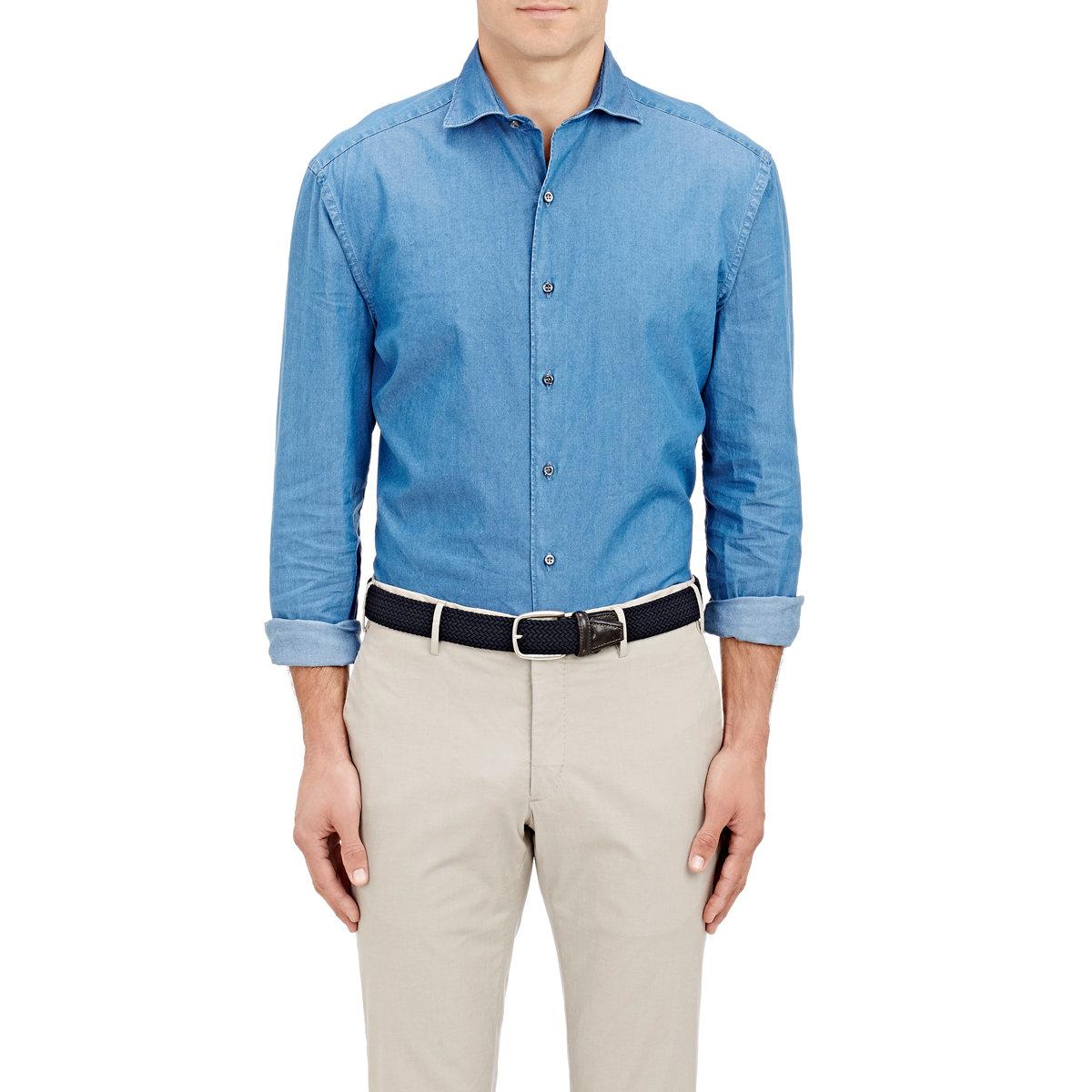 barneys new york chambray dress shirt in blue for men lyst