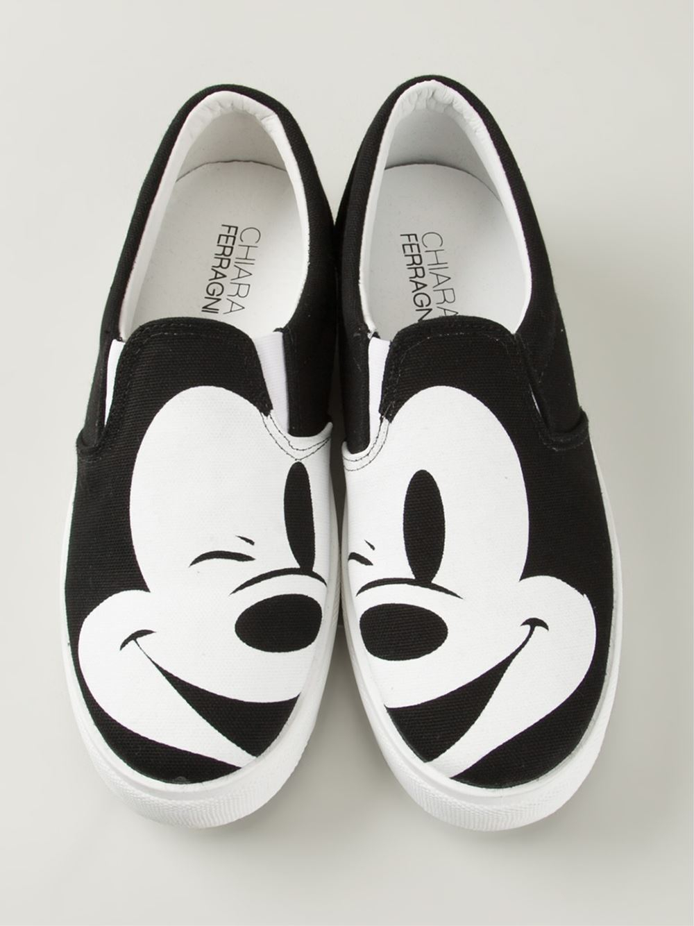 chiara ferragni mickey mouse print slip on sneakers in black lyst. Black Bedroom Furniture Sets. Home Design Ideas
