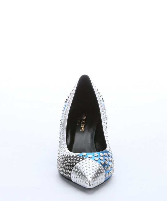 Saint laurent Silver And Blue Leather Studded Patchwork Kitten ...