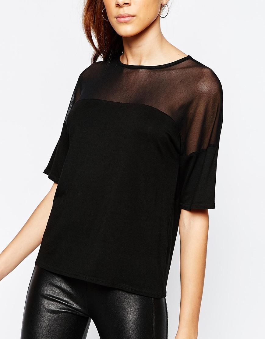 a67b32978d1 Daisy Street Sheer Mesh Insert T-shirt in Black - Lyst