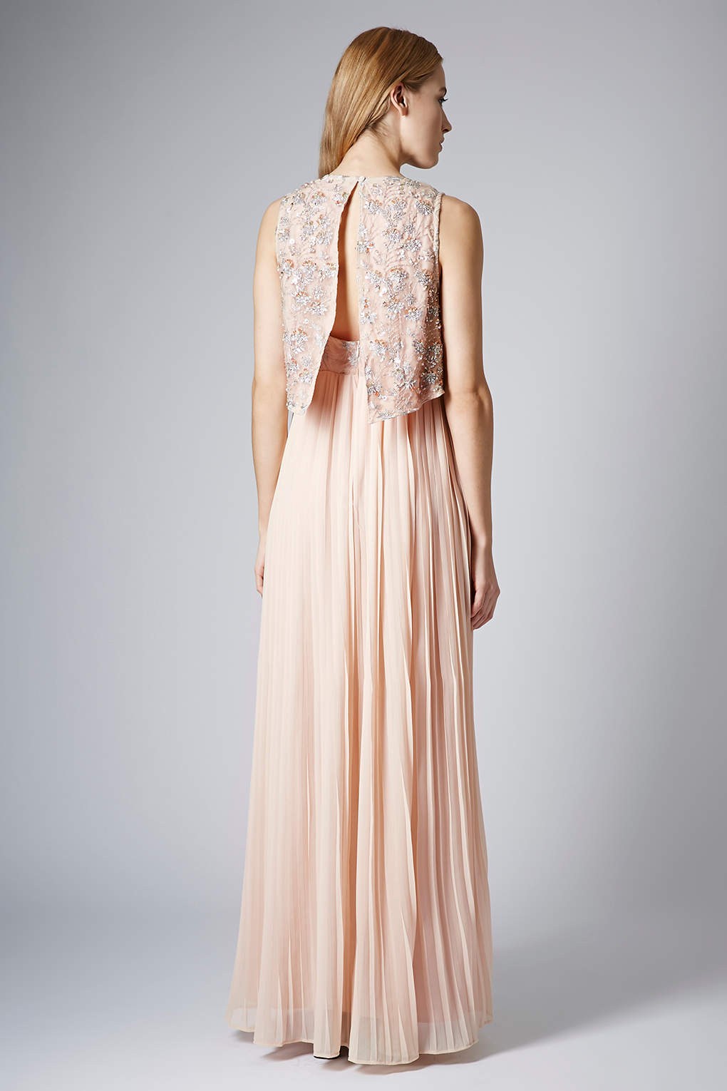 Lyst Topshop Limited Edition Pleated Embellished Maxi Dress In Pink