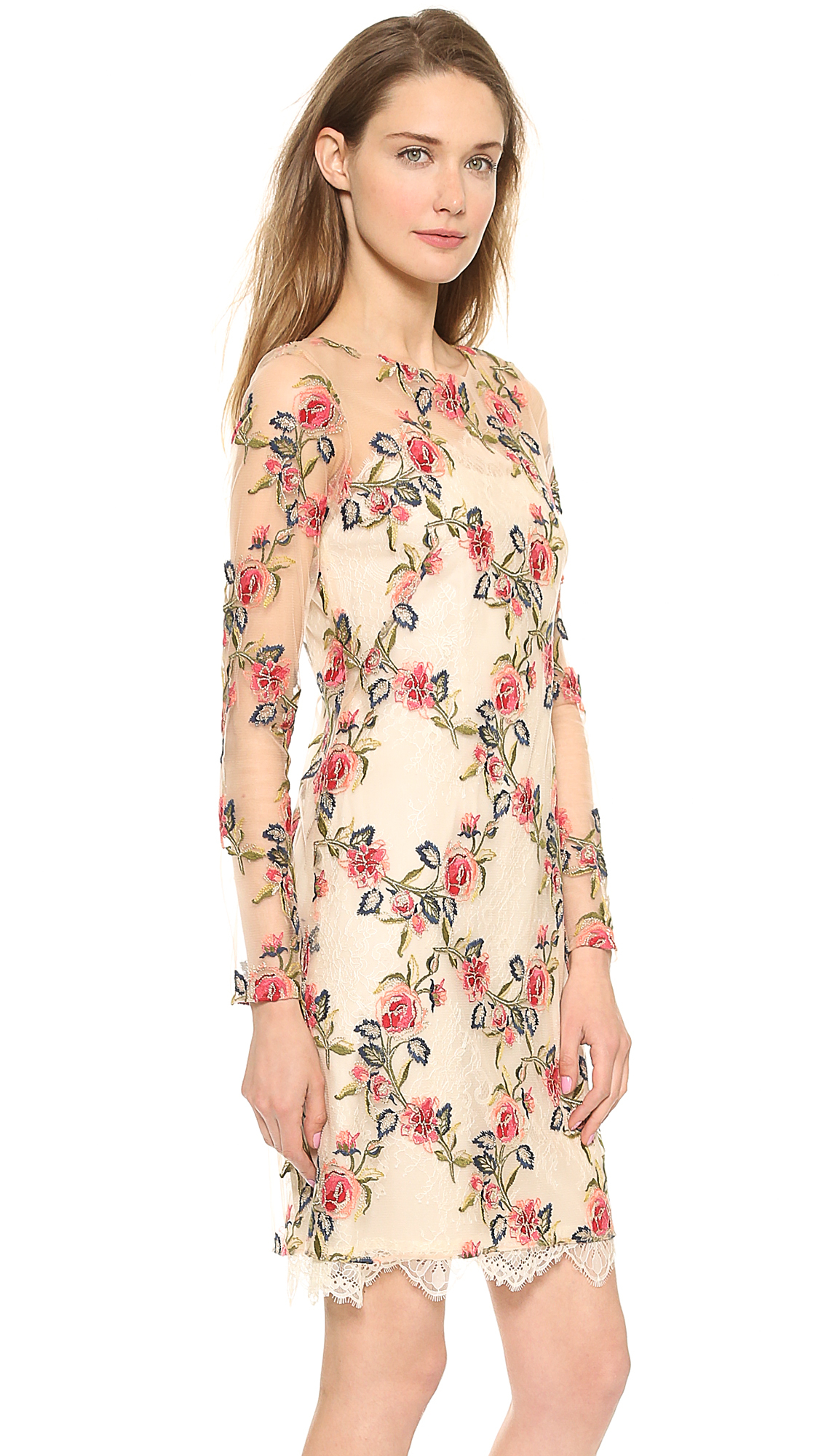 Notte by marchesa embroidered tulle dress floral in