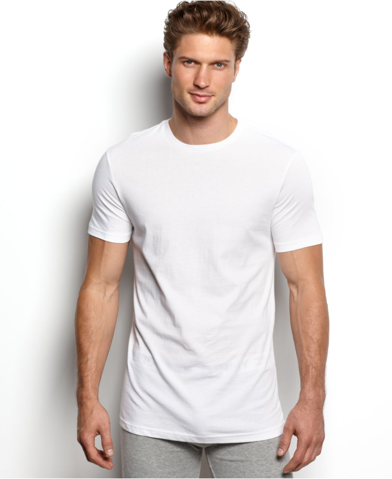 Lyst tommy hilfiger big tall crewneck t shirt 4 pack for Crew neck white t shirt