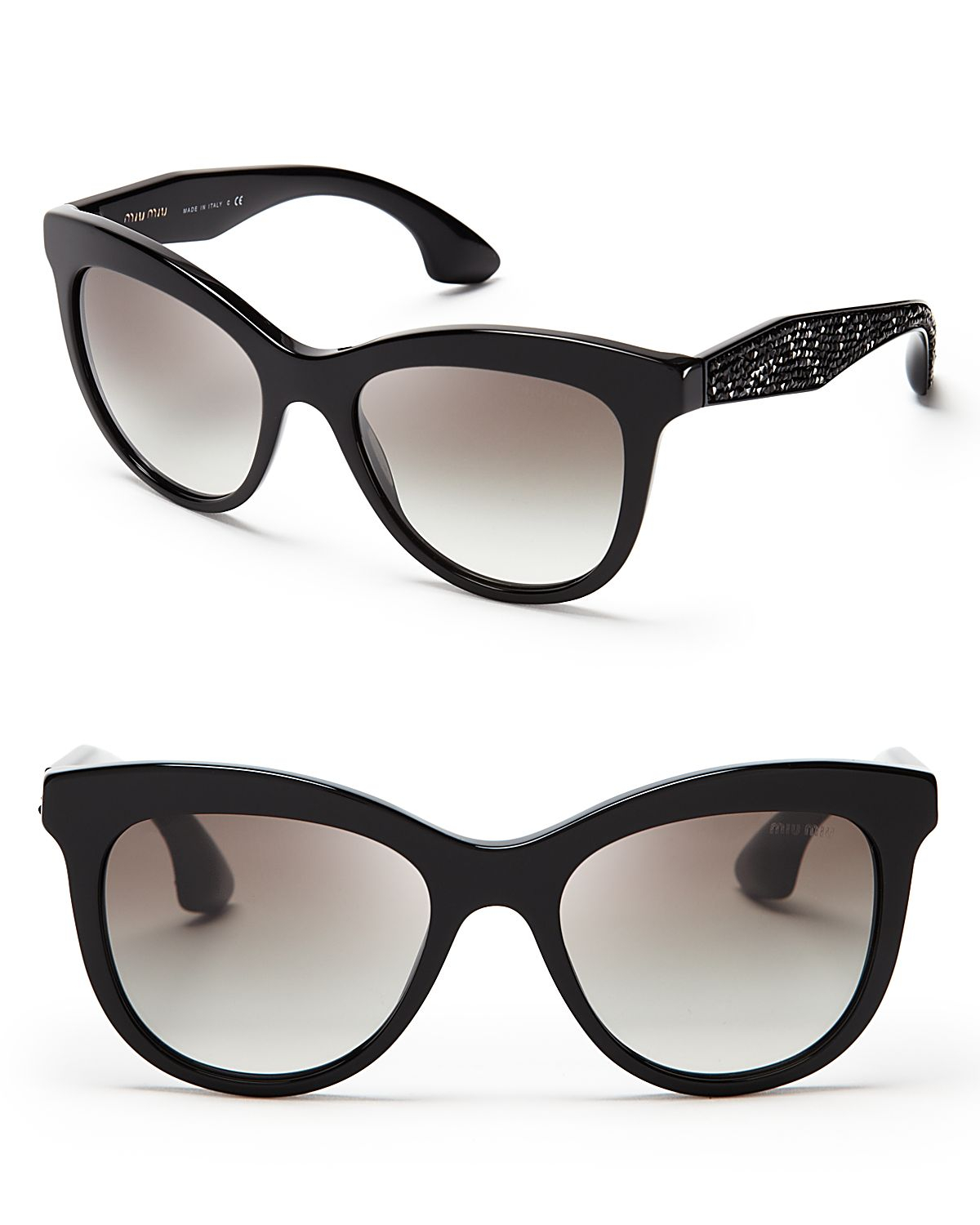 Miu Miu Crystallized Cat Eye Sunglasses In Black Lyst
