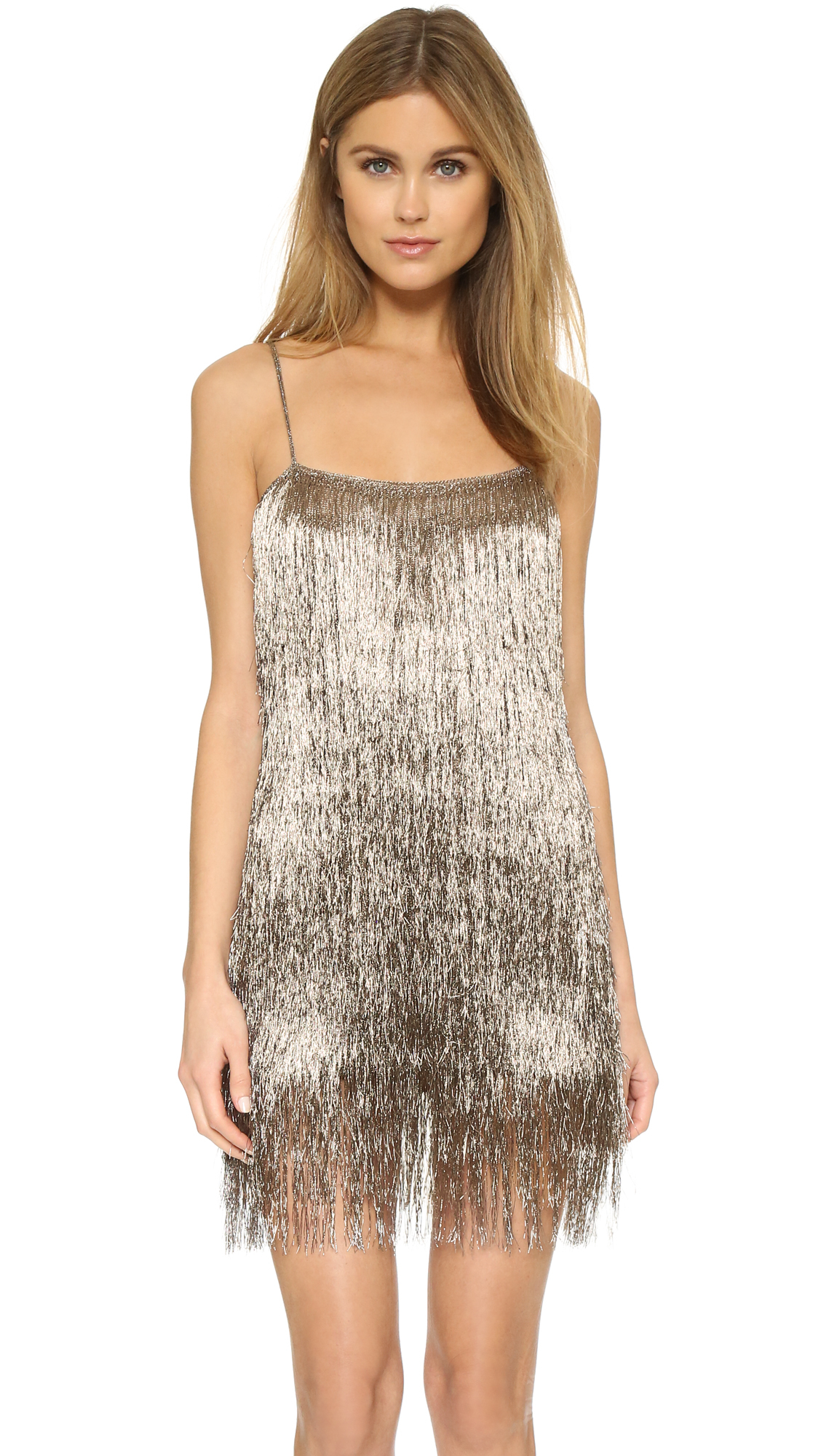 Rachel Zoe Della Fringe Metallic Mini Dress In Metallic Lyst