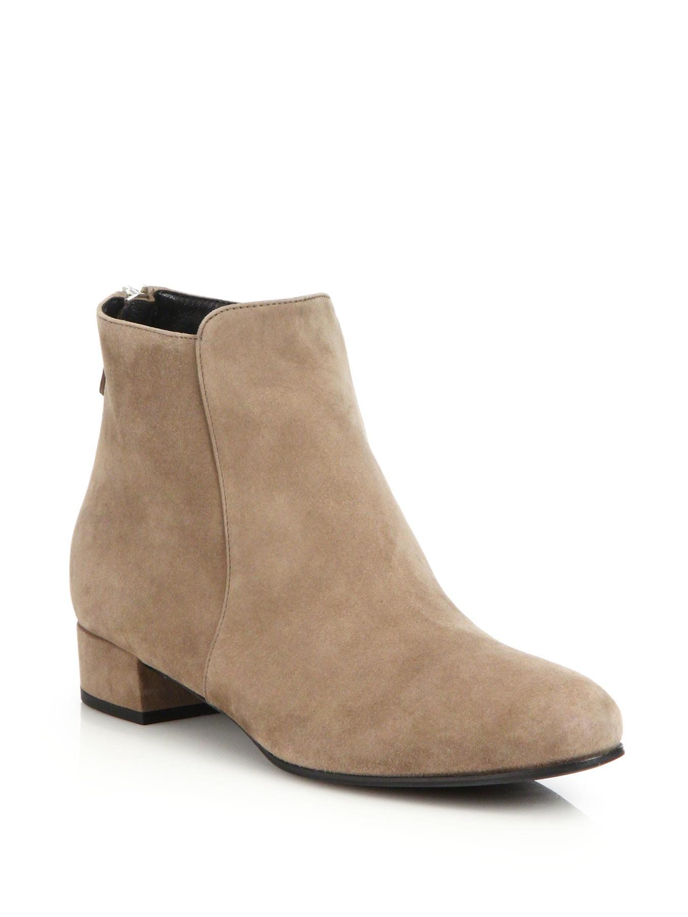 Prada Suede Flat Ankle Boots In Beige Tan Lyst