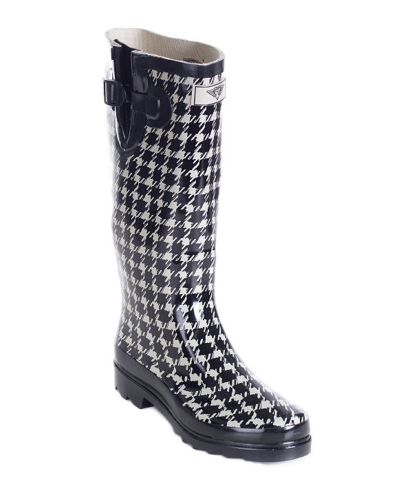 Forever young Women's Tall Rubber Plaid Black And White Rain Boots ...