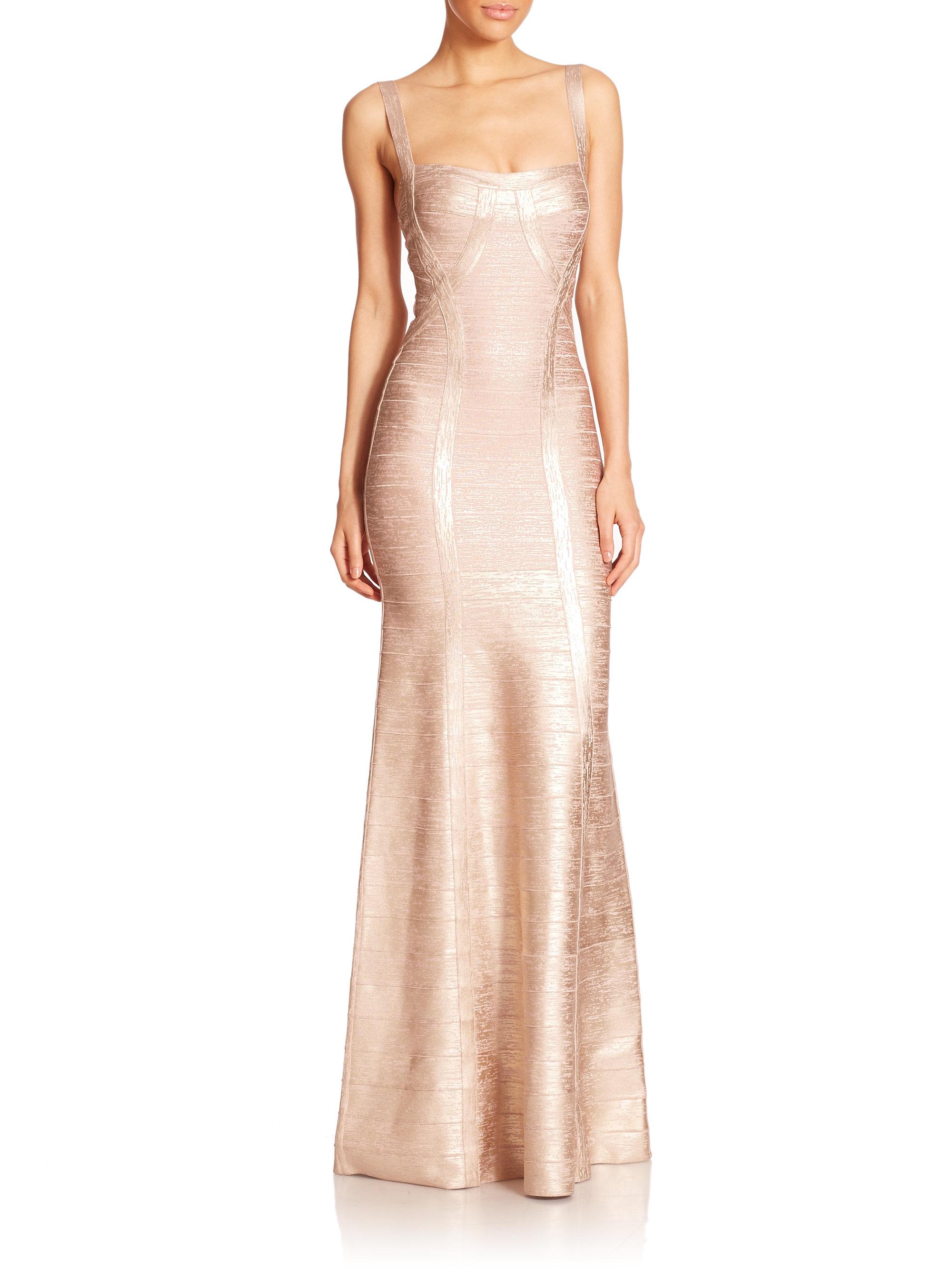 Lyst - Hervé Léger Foil-Embellished Bandage Gown in Pink