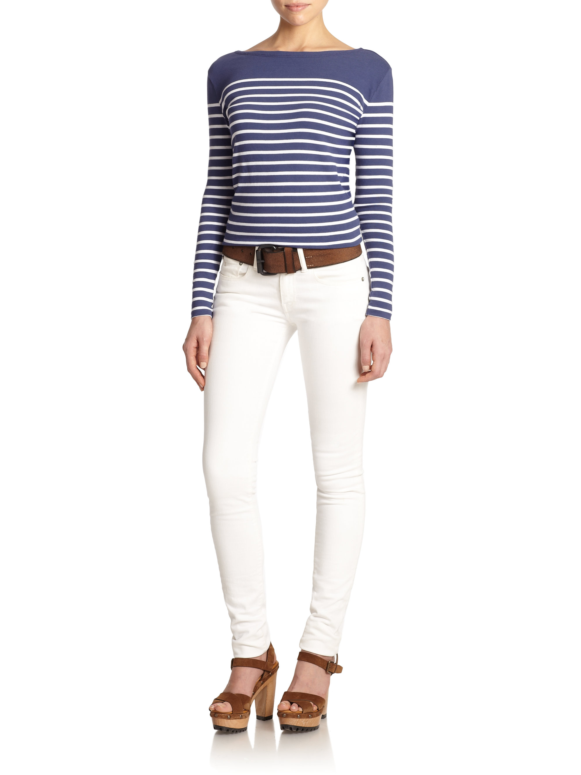polo ralph lauren striped long sleeve tee in blue lyst. Black Bedroom Furniture Sets. Home Design Ideas
