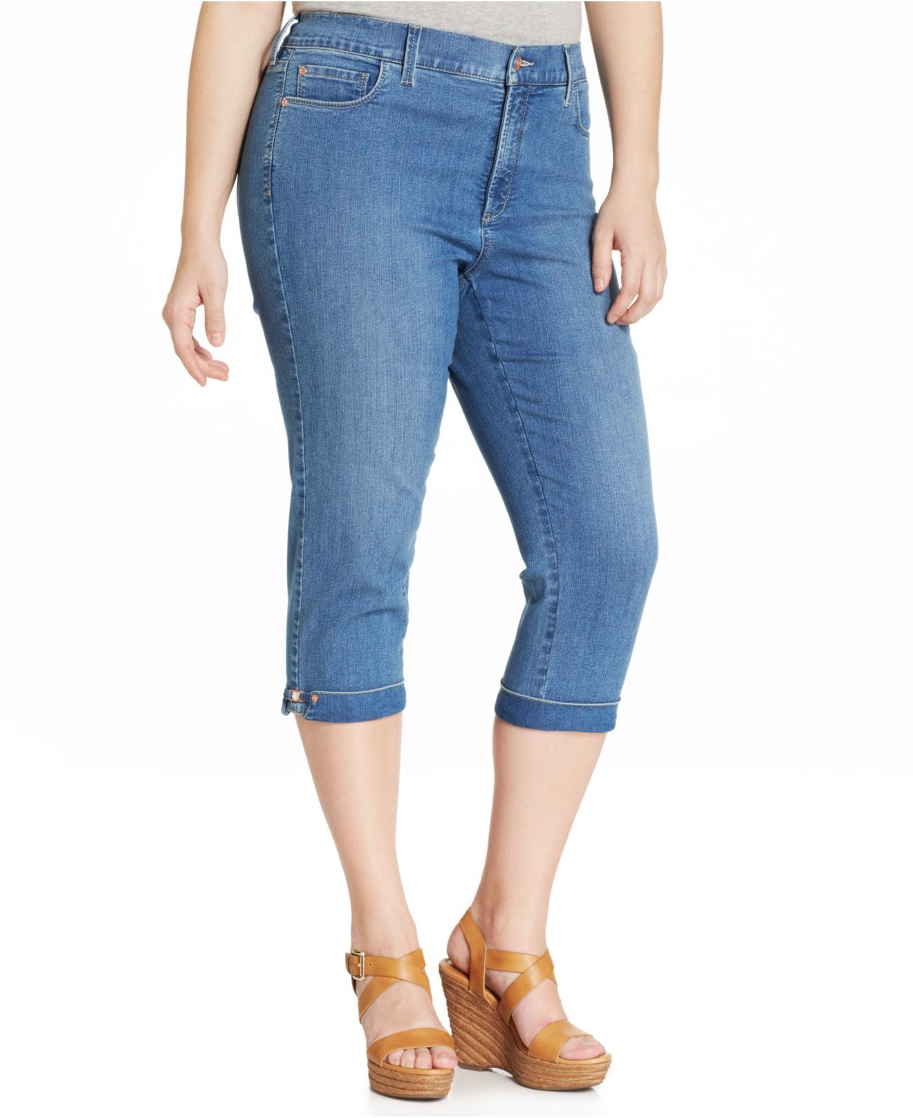 Nydj Plus Size Kasia Cuffed Cropped Jeans in Blue | Lyst