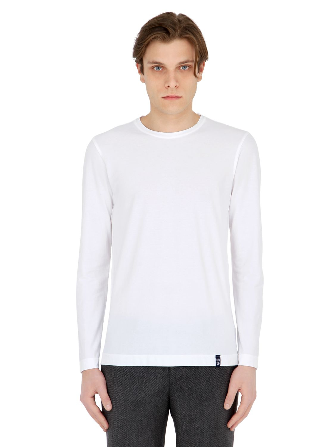 Drumohr Cotton Crepe Jersey Long Sleeve T-shirt in White ...