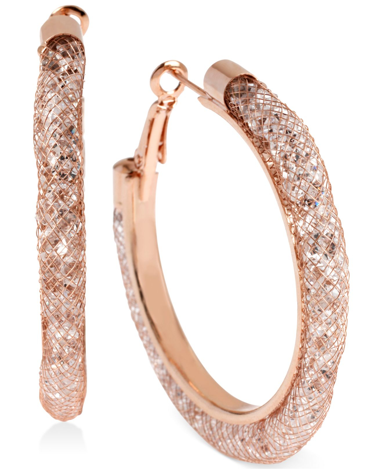 Lyst Betsey Johnson Rose GoldTone MeshWrapped Crystal Hoop