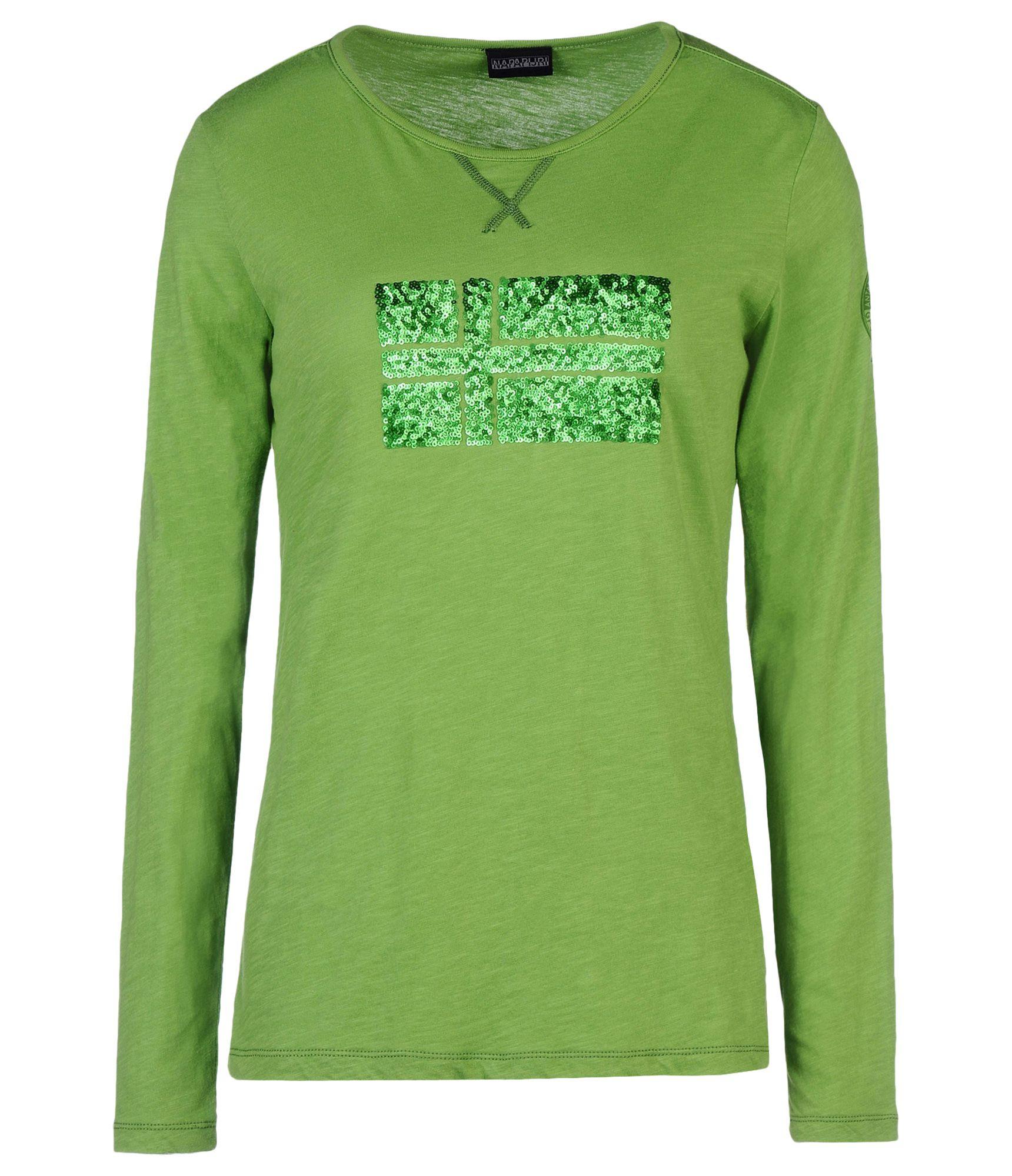 Napapijri long sleeve t shirt in green apple green lyst for Apple green dress shirt