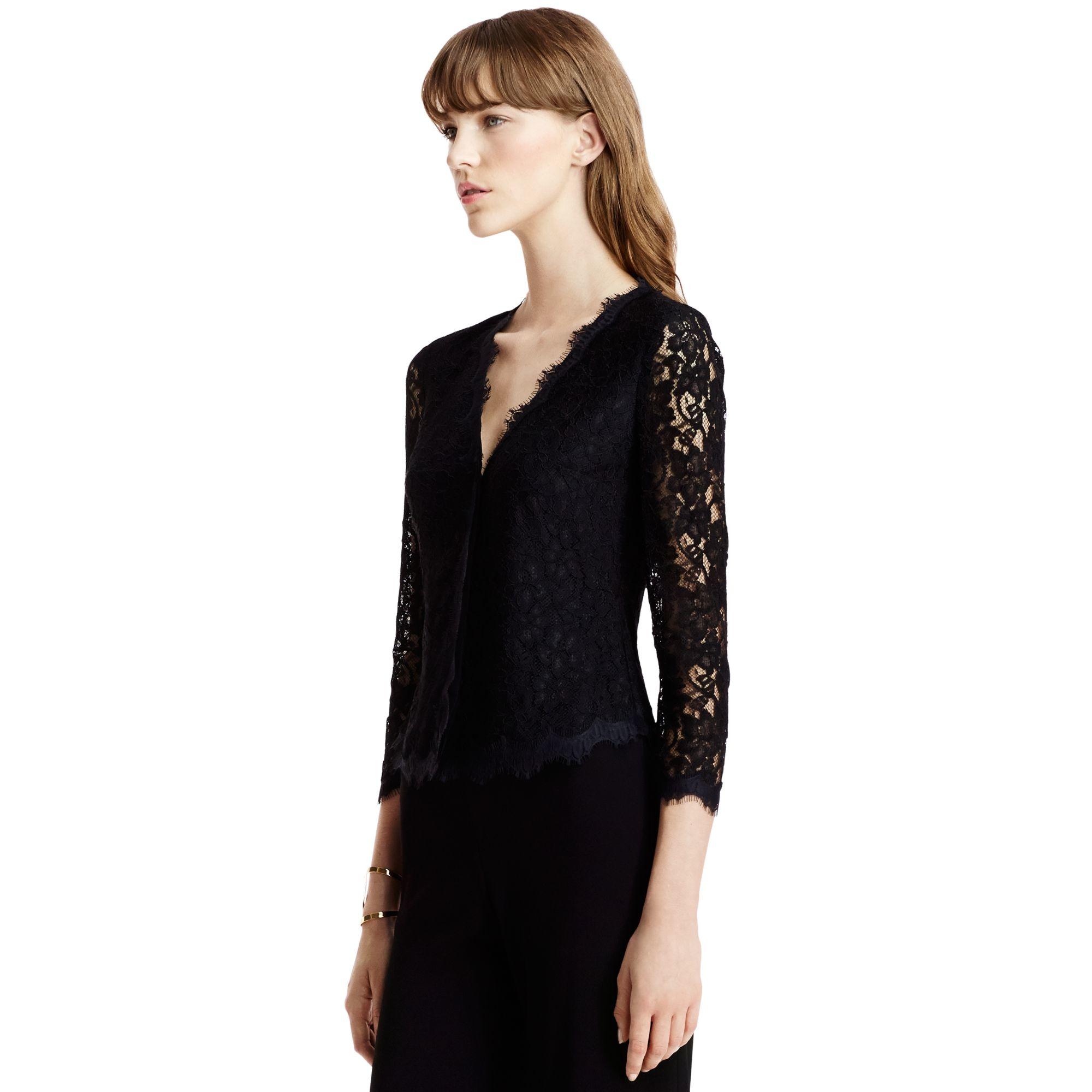 lyst diane von furstenberg dvf bria lace cardigan in black. Black Bedroom Furniture Sets. Home Design Ideas