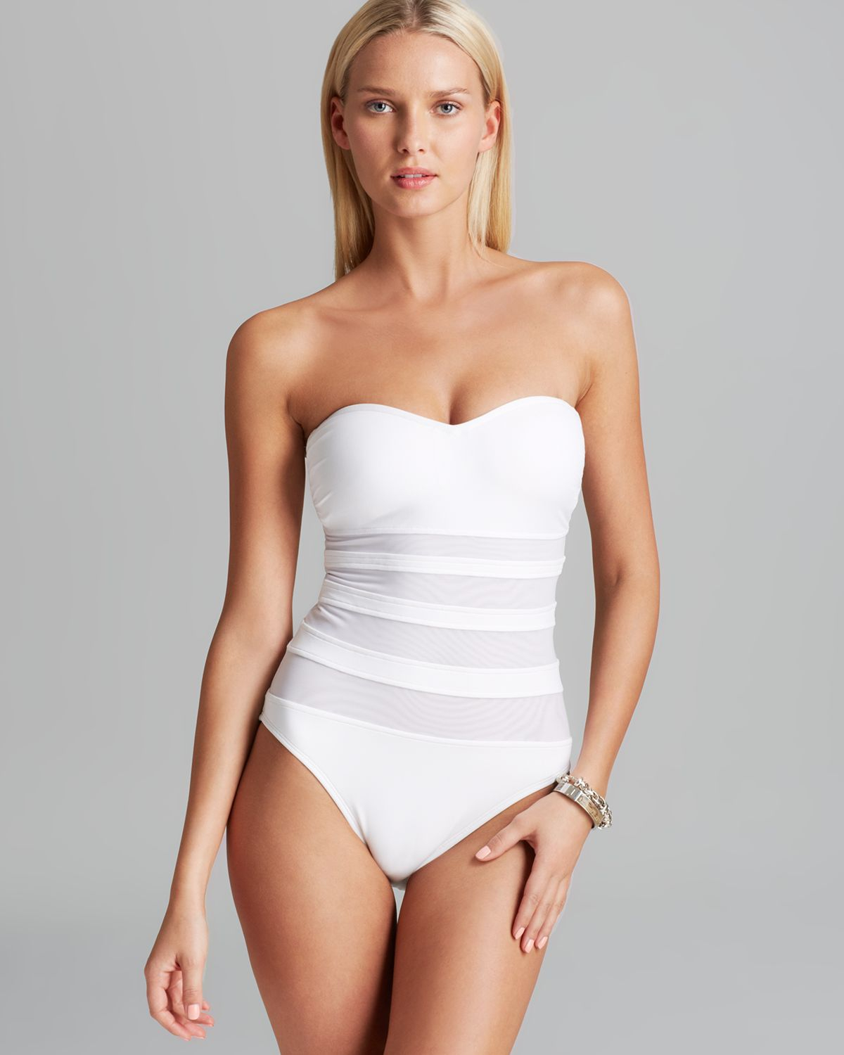 dbe98e171d La Blanca Sheer Present Danger Sweetheart Bandeau One Piece Swimsuit ...
