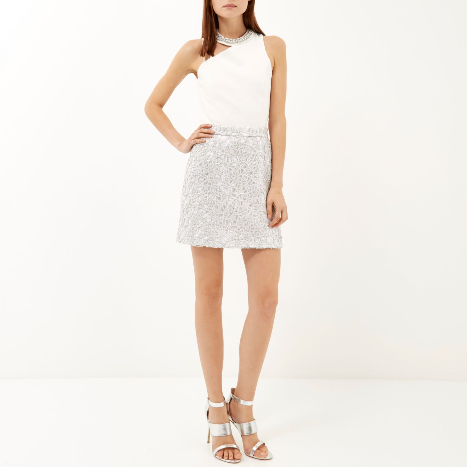 River island Silver Sparkly Lace A-line Skirt in Gray   Lyst