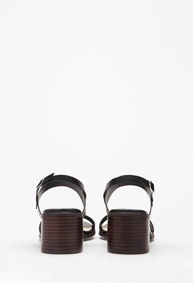 07c1aeed611ea8 Lyst - Forever 21 Faux Leather Slingback Sandals in Black