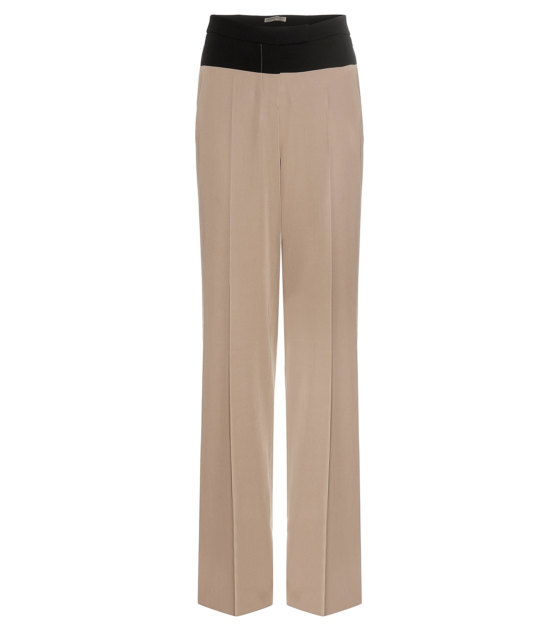 Bottega veneta Wide-leg Wool Trousers in Natural | Lyst