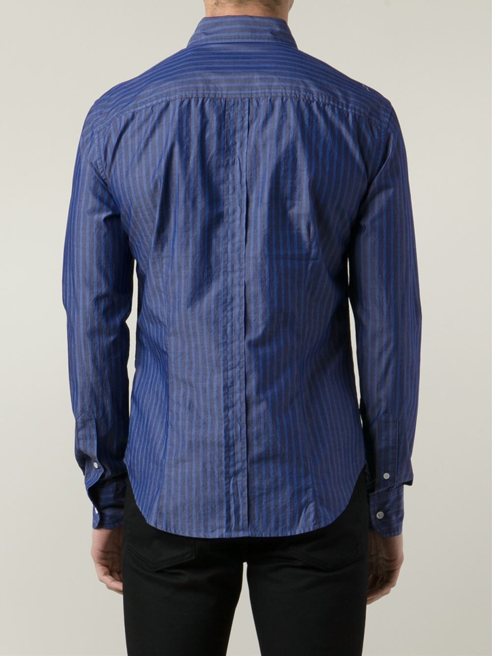 Band of outsiders striped button down shirt in blue for for Striped button down shirts for men