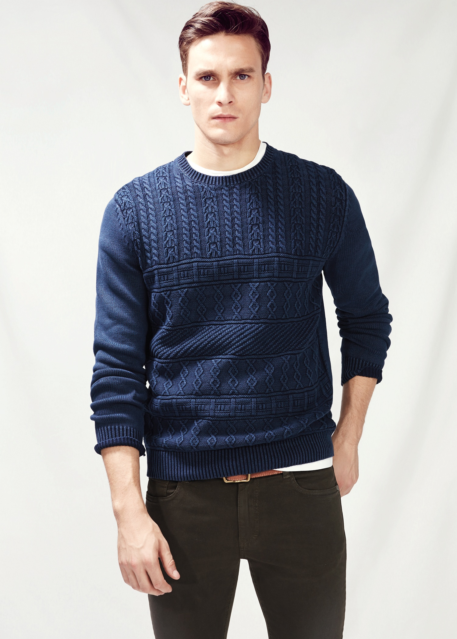 Mango Cable-Knit Cotton Sweater in Blue for Men | Lyst