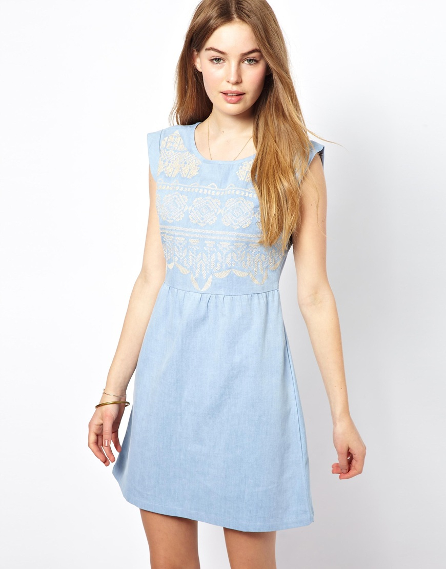 By zo chambray mini dress with embroidery in blue denim for Chambray dress