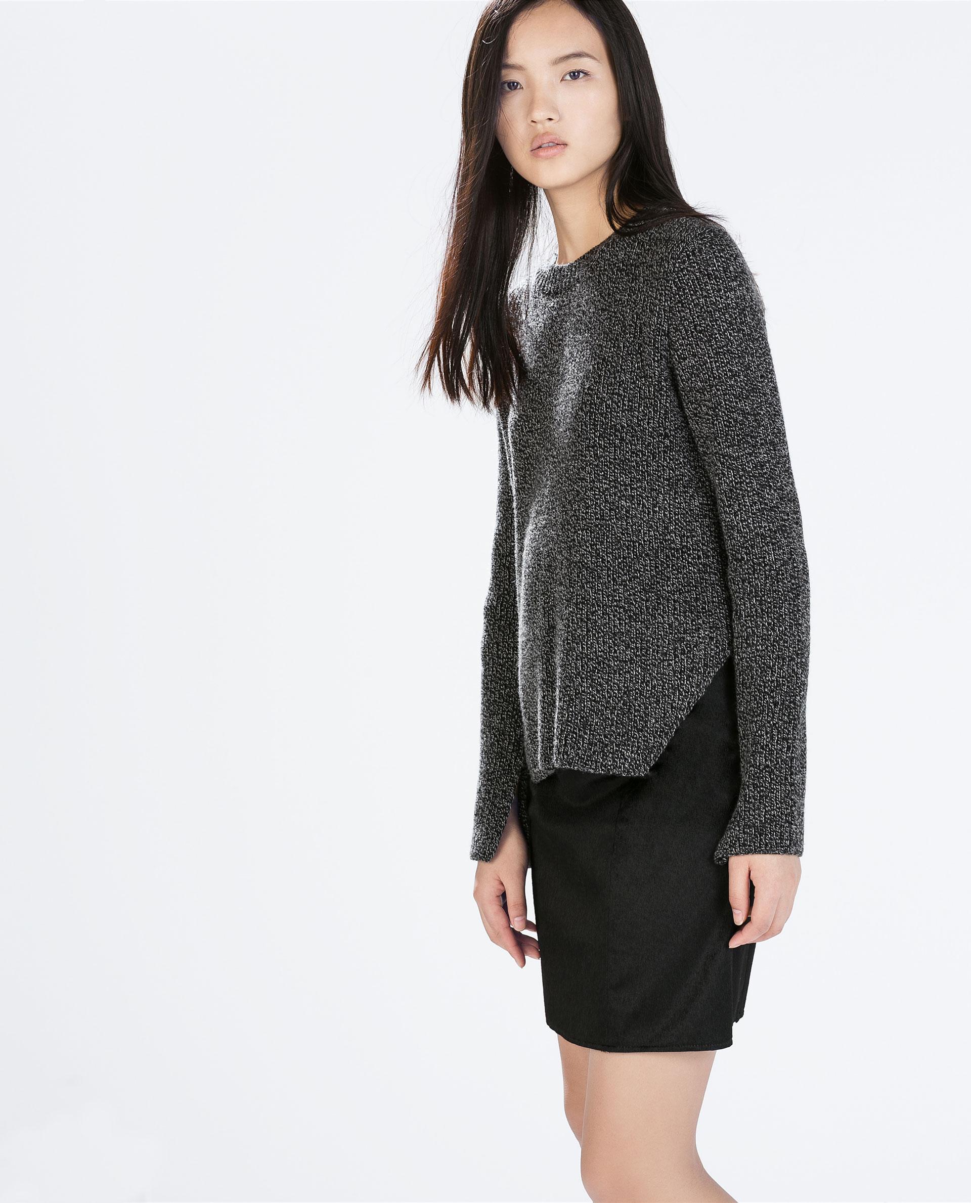 zara textured a line mini skirt in black lyst
