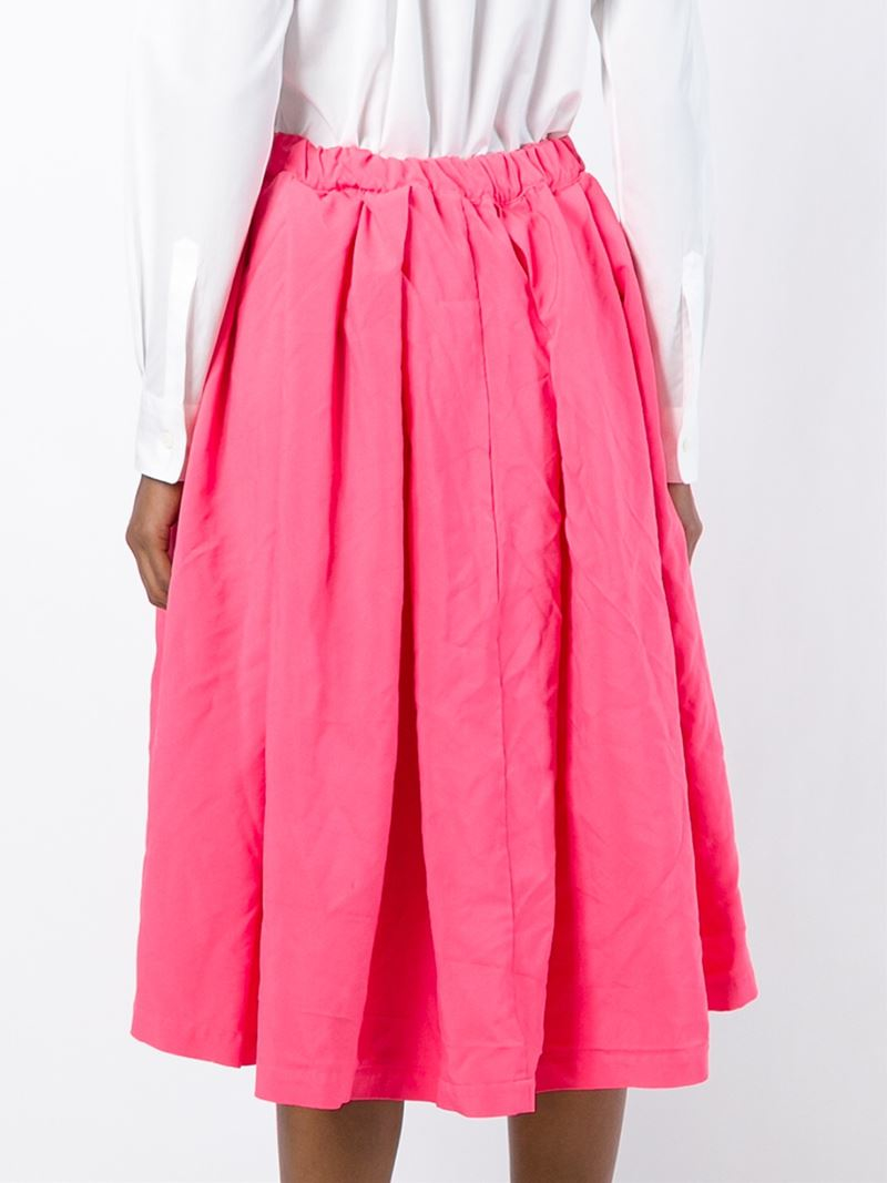 comme des gar 231 ons pleated midi skirt in pink lyst