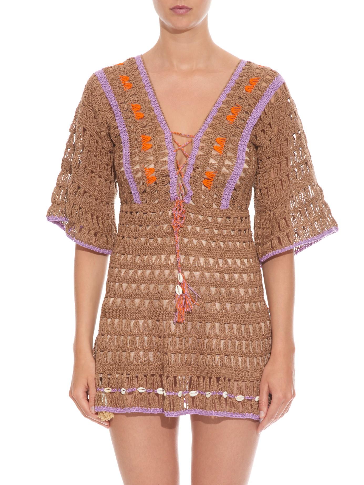 41e59e26b5e Anna Kosturova Medina Shell-embellished Crochet Dress in Brown - Lyst