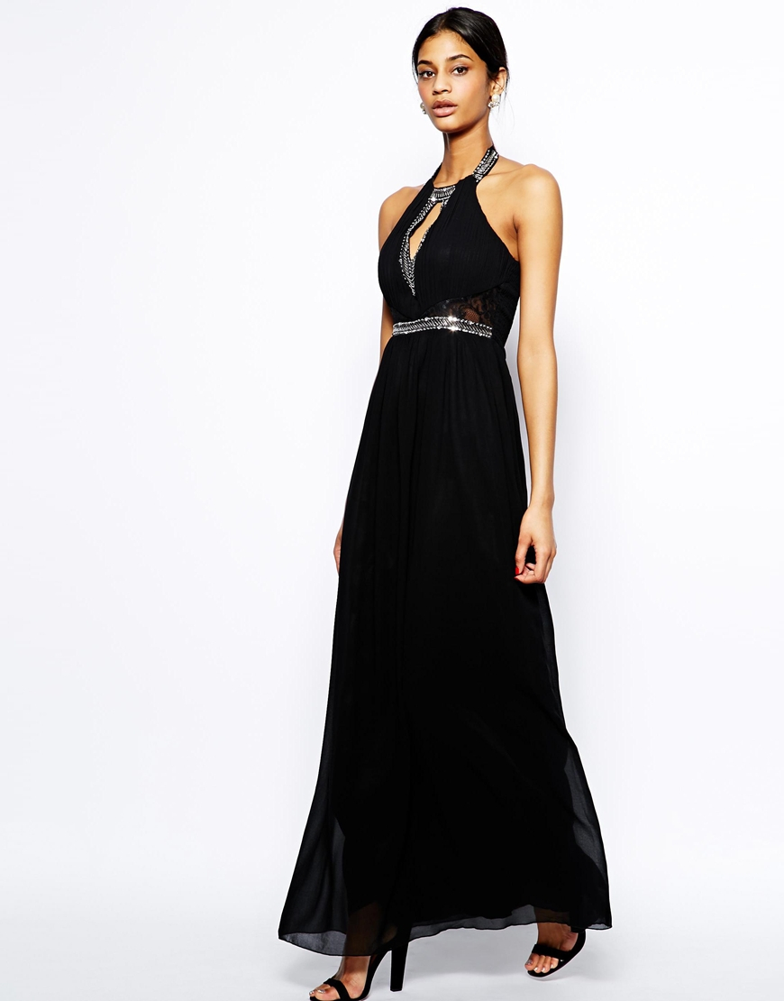 Little mistress High Neck Maxi Dress with Embellished Neck in ...