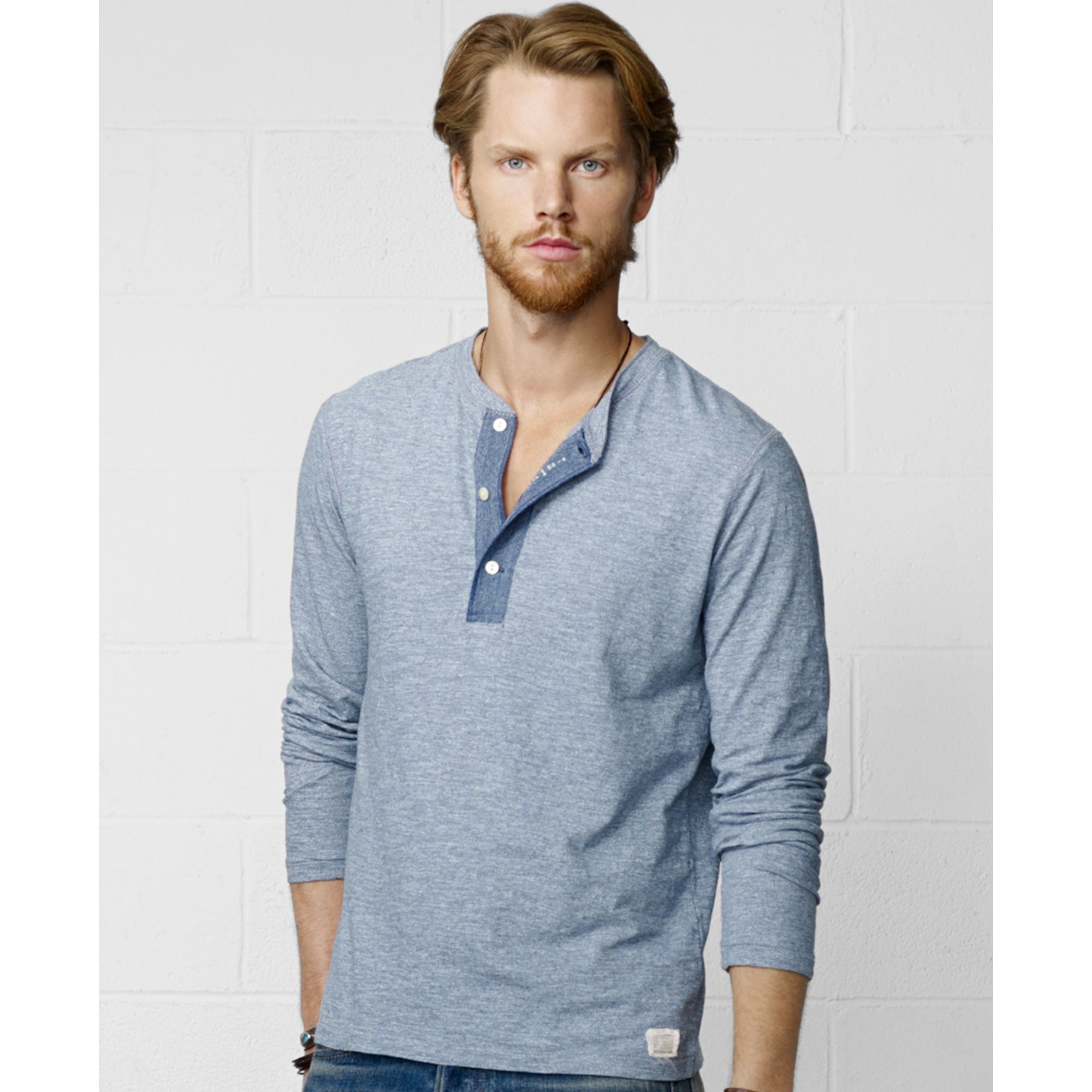 Lyst denim supply ralph lauren henley shirt in blue for Mens collared henley shirt