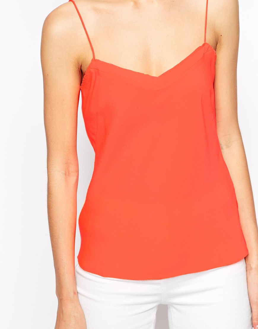 676d4a8d08a8e5 Lyst - Ted Baker Cami Top With Scallop Edge Detail in Orange