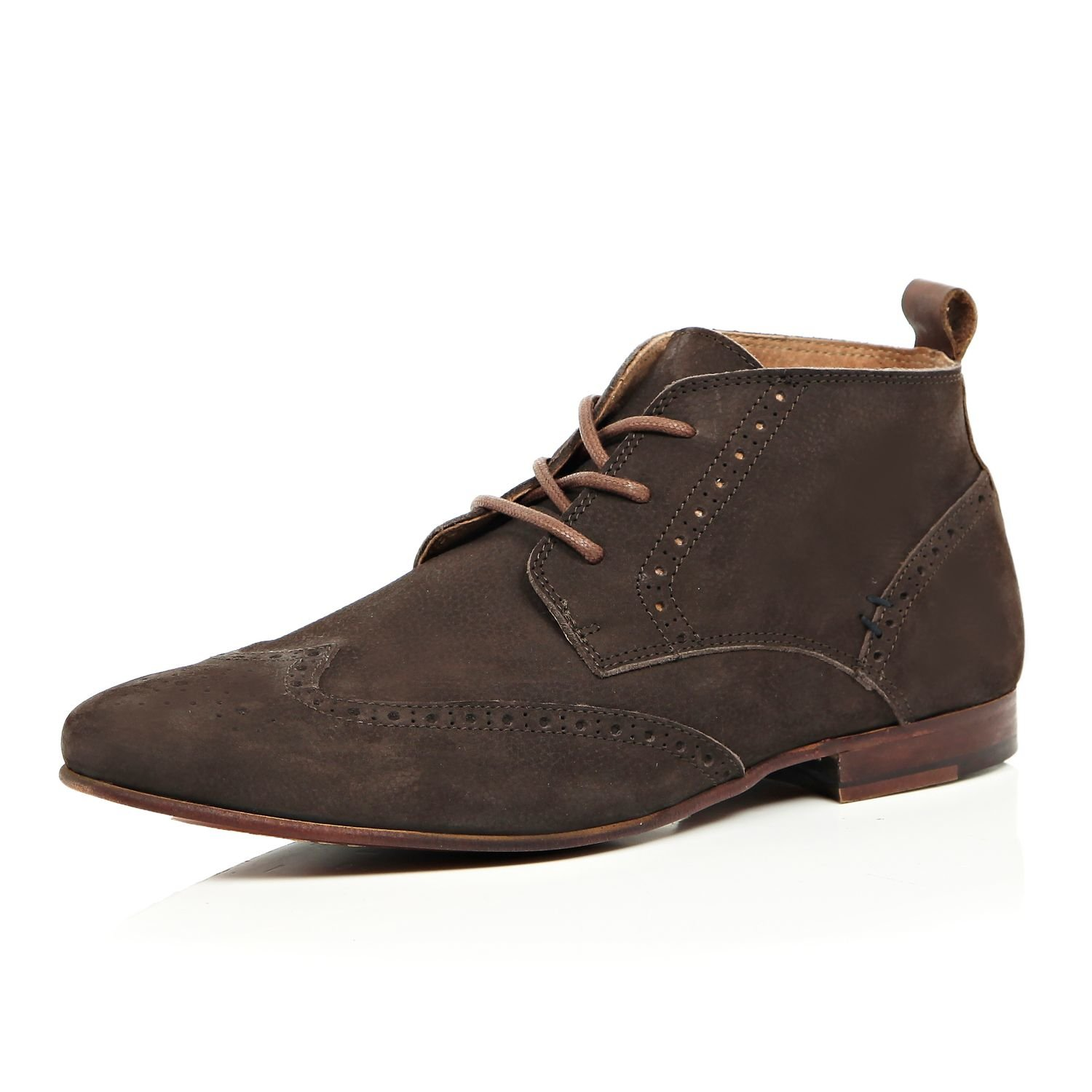 River Island Brogue Chukka Boots In Leather