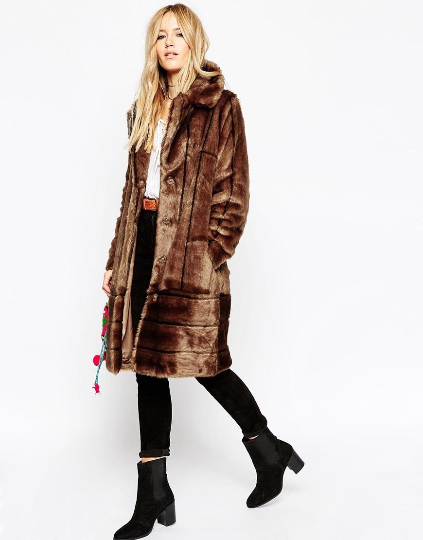 Asos coat in vintage longline pelted faux fur brown lyst