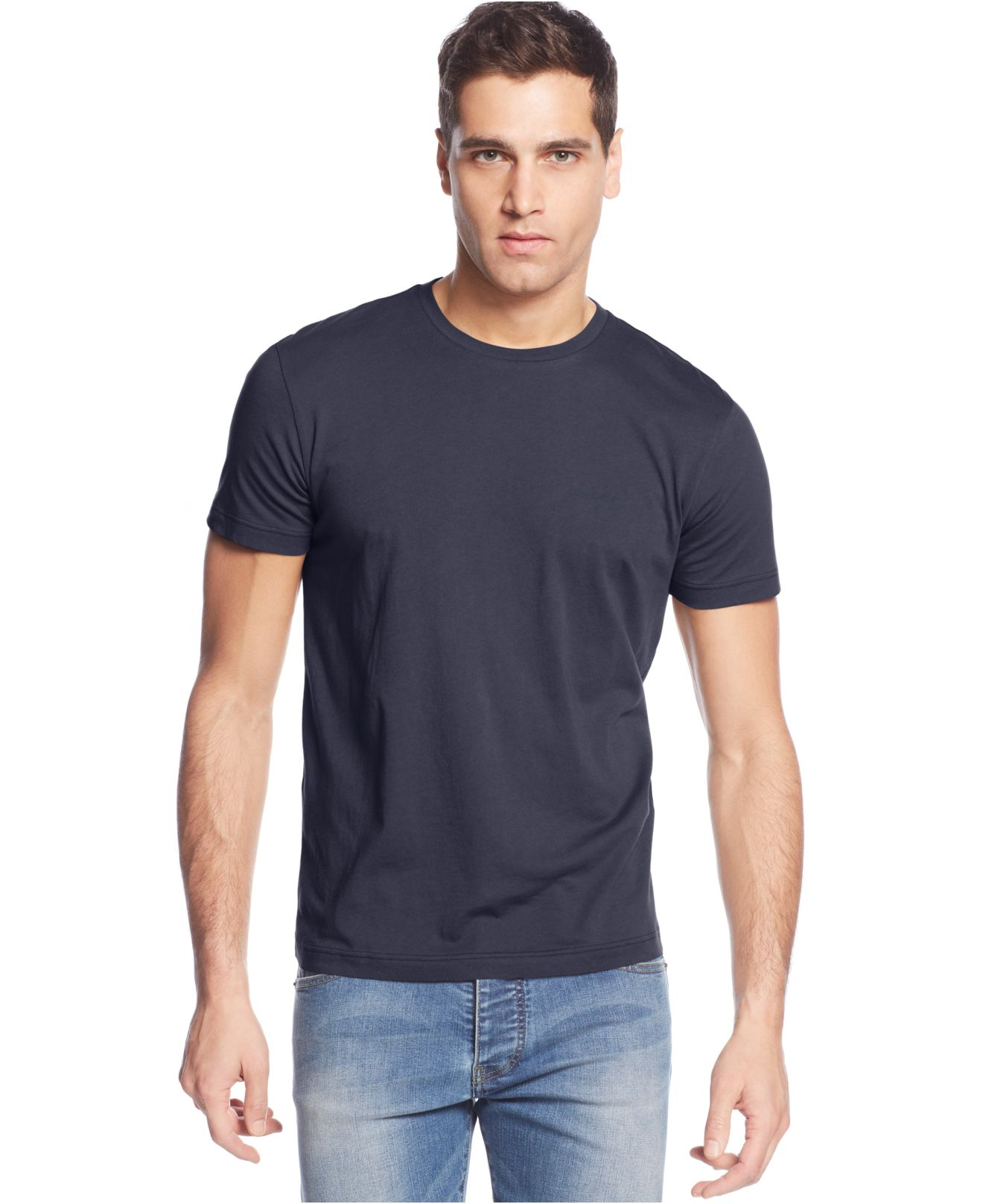 armani jeans largo logo t shirt in blue for men lyst. Black Bedroom Furniture Sets. Home Design Ideas