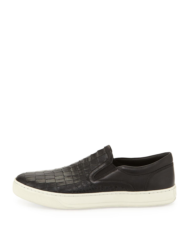 Lyst - Vince Ace Mens Stamped-Leather Slip-On Sneaker in Black for Men 52b282fb407b