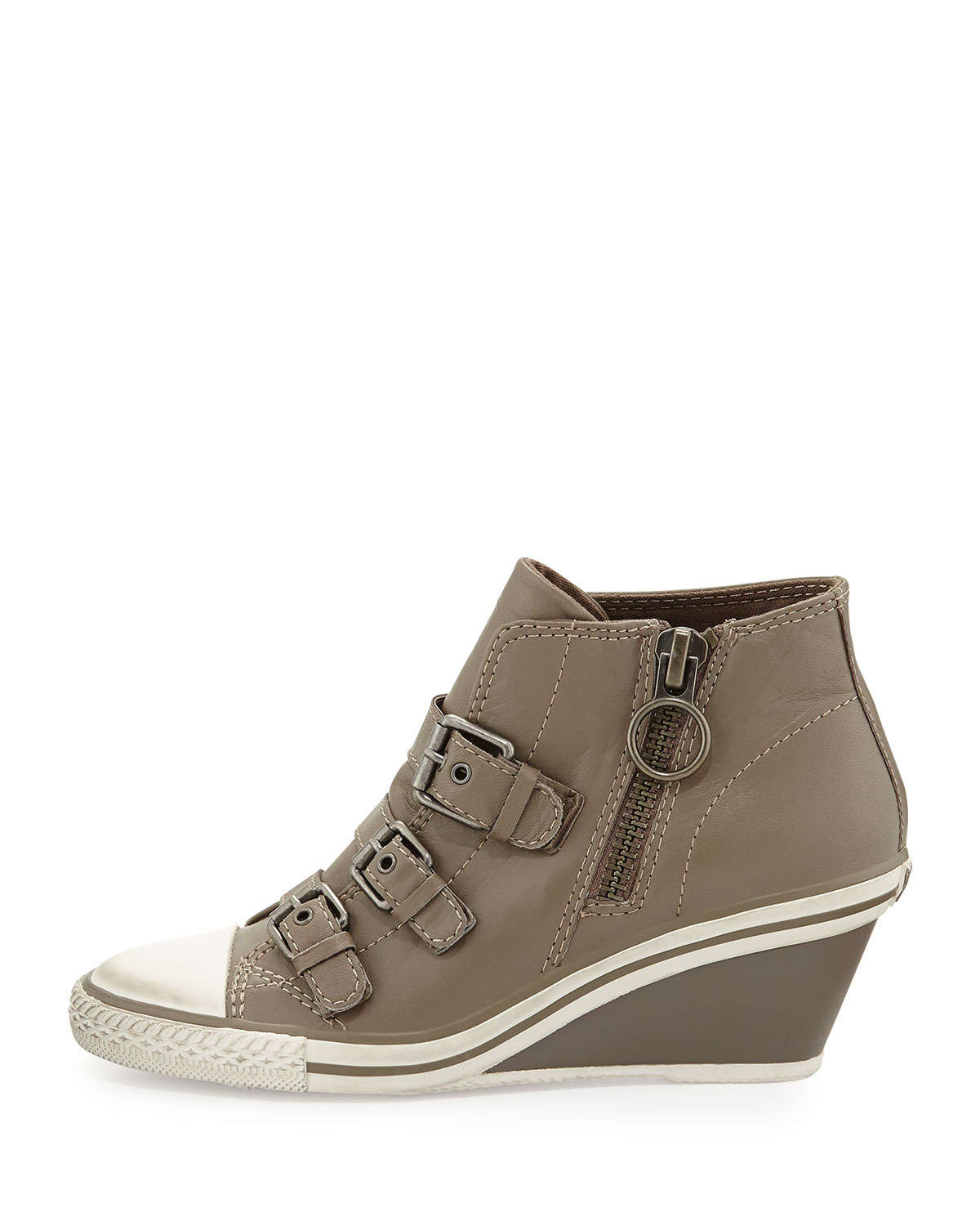 Ash Gin Bis Leather Wedge Sneakers In Natural Lyst