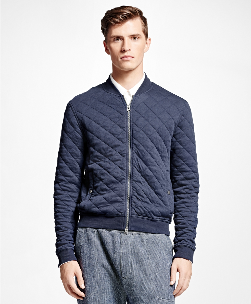 Lyst Brooks Brothers Quilted Bomber Jacket In Blue For Men