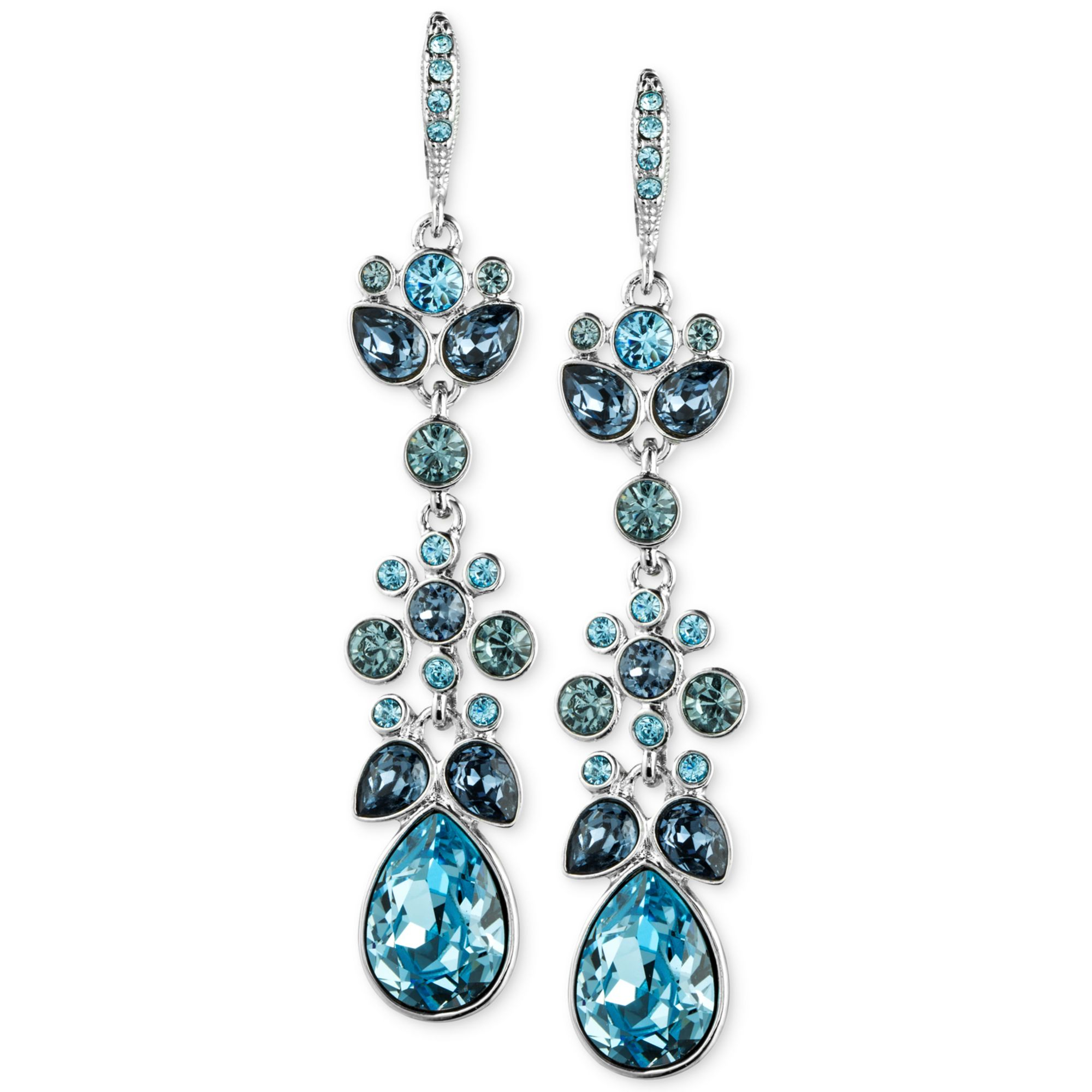 Red Givenchy Chandelier Earrings: Givenchy Blue Swarovski Crystal Chandelier Earrings