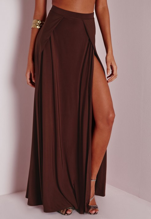 Missguided Double Split Slinky Maxi Skirt Brown in Brown | Lyst