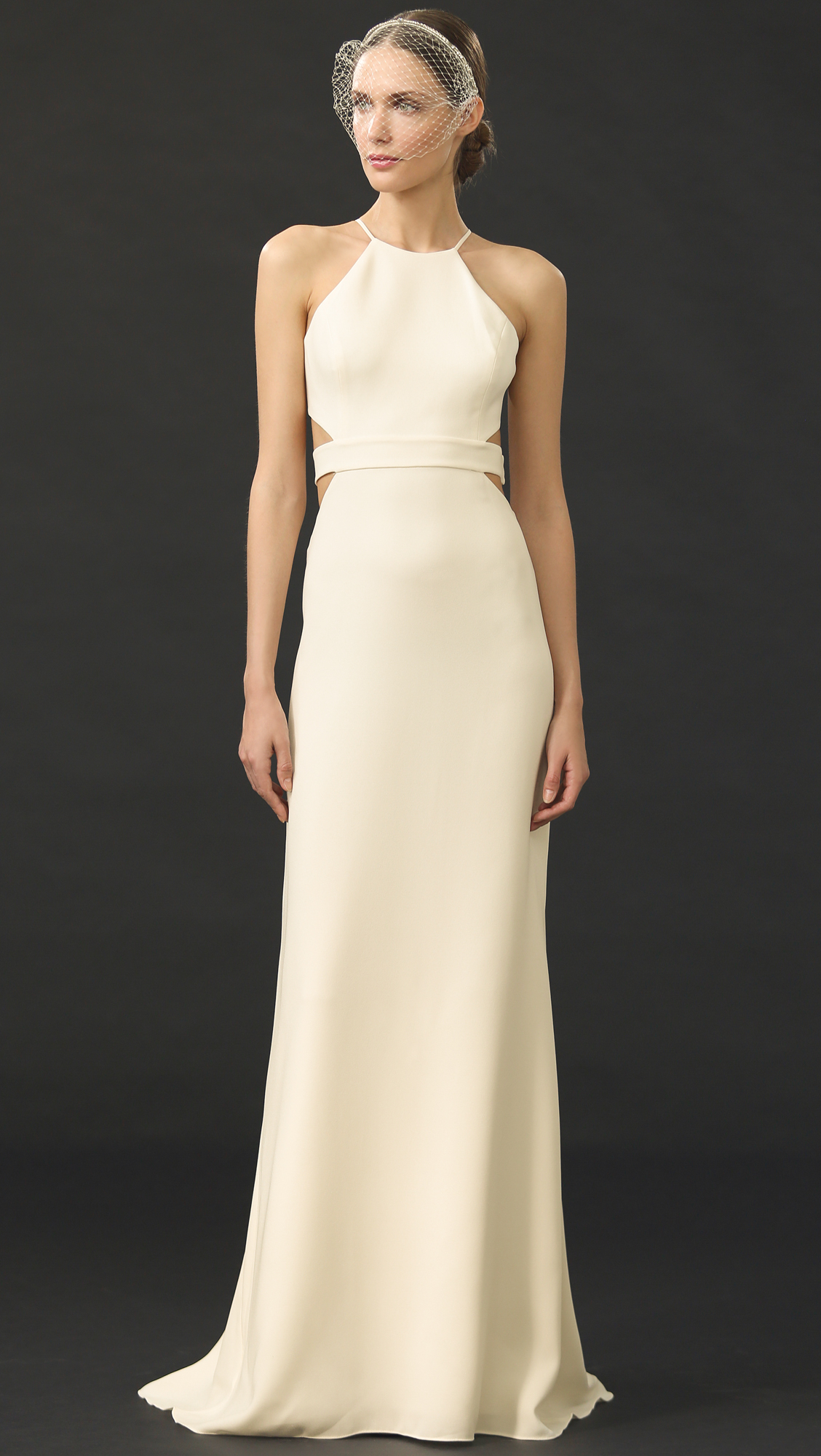 Lyst Halston Back Cutout Gown In Natural
