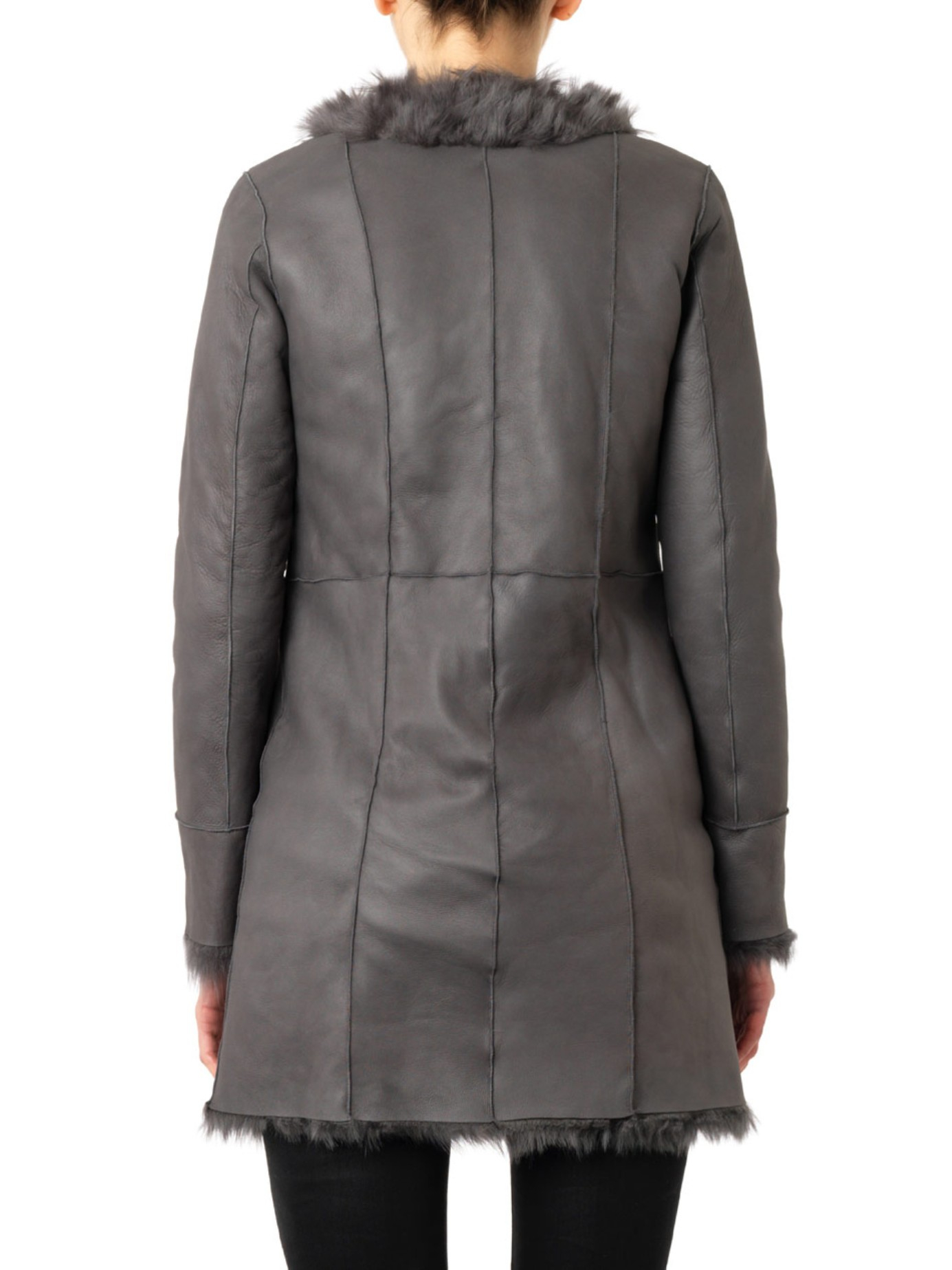 Drome Reversible Leather Shearling Coat in Gray | Lyst